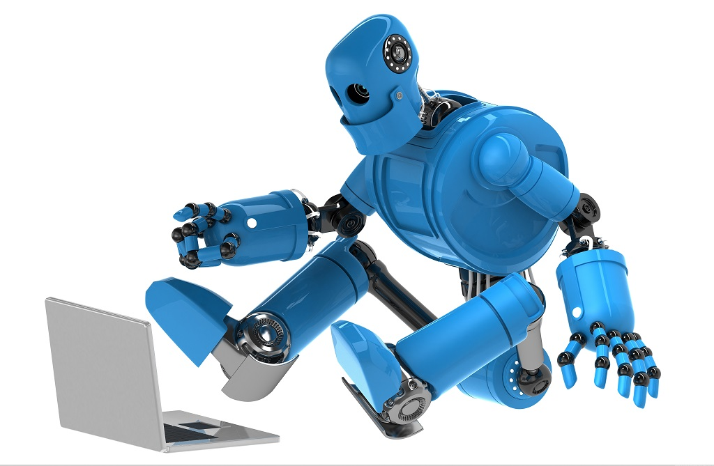 Robot with laptop on a white background